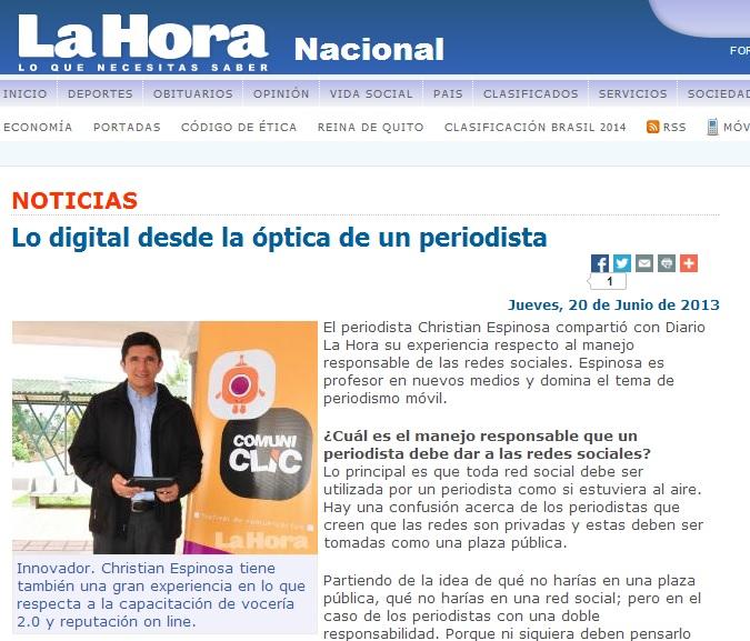 periodismo digital Ecuador y redes sociales